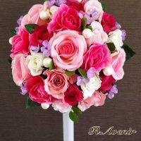 ピンク・パープルのお花に大きめパールを入れたブーケ、ブートニア付き
