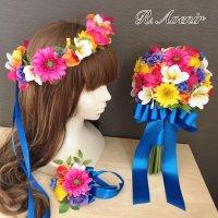 【花冠セット】プルメリアやガーベラのビビッドカラーのクラッチブーケ、ブートニア