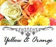 オレンジ色のシルクフラワーでお作りしたウエディングアイテム