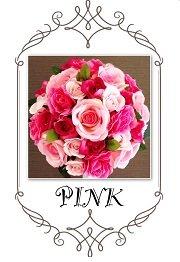 ピンク色の造花で作ったウエディングブーケ