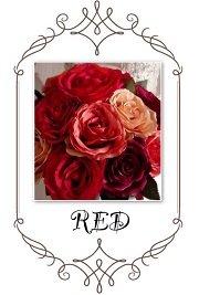 赤色の造花で作ったウエディングブーケ